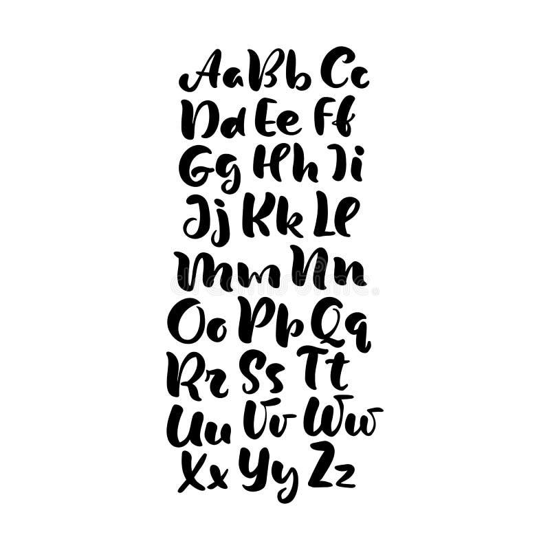 在字母表设计,手写的刷子剧本现代书法草书手稿黑白字体传染媒介例证上写字的手 向量例证