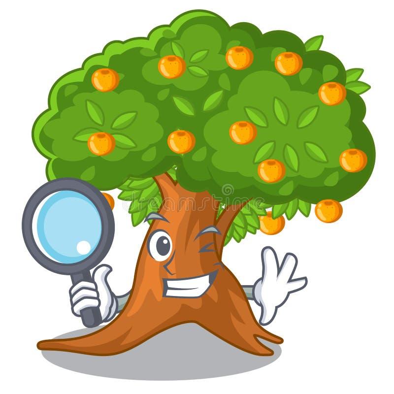 在字符形状的侦探橙树 向量例证