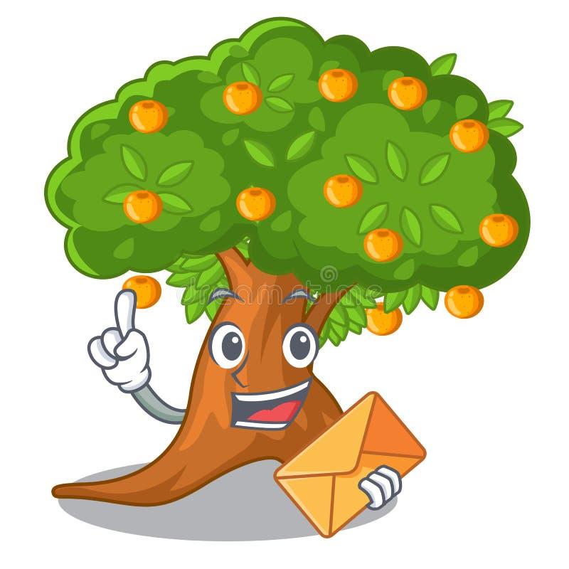 在字符形状的信封橙树 向量例证