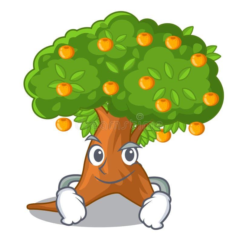 在字符形状的傻笑的橙树 皇族释放例证