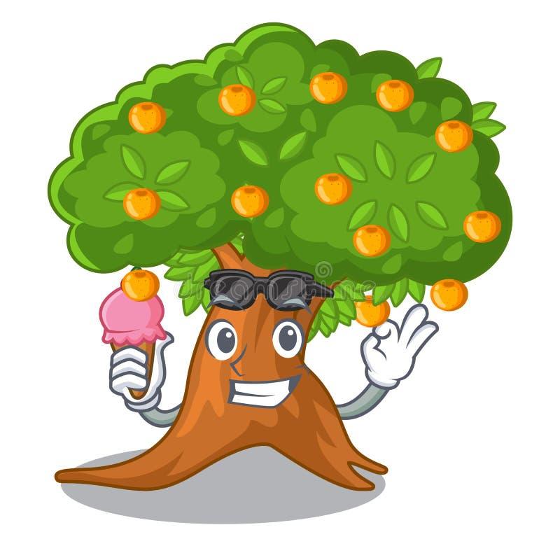 在字符形状的冰淇淋橙树 库存例证