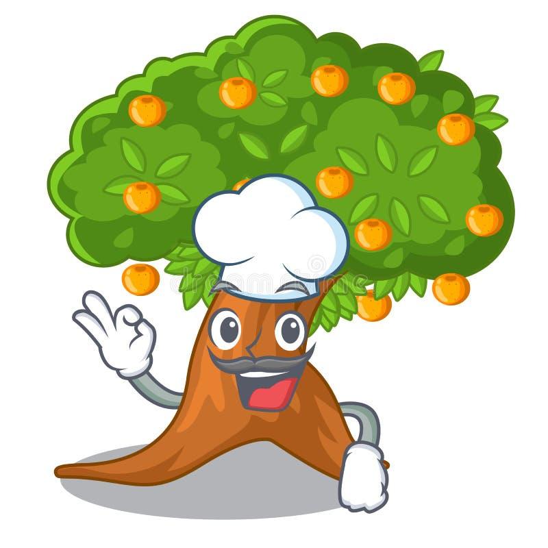 在字符形状的厨师橙树 向量例证