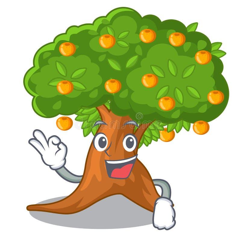 在字符形状的好橙树 皇族释放例证