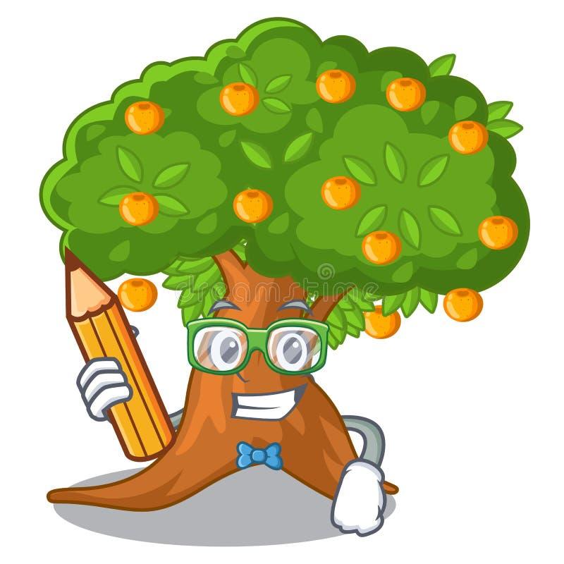 在字符形状的学生橙树 库存例证