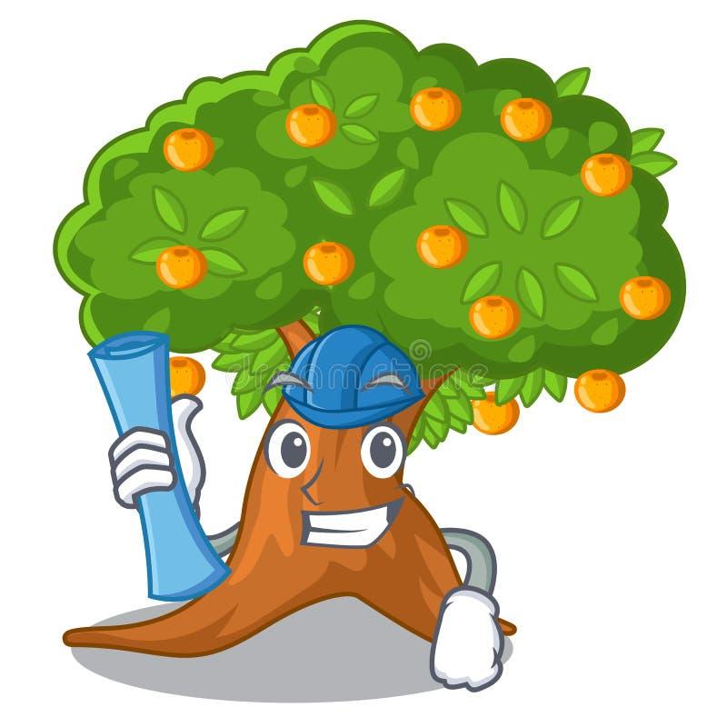 在字符形状的建筑师橙树 库存例证