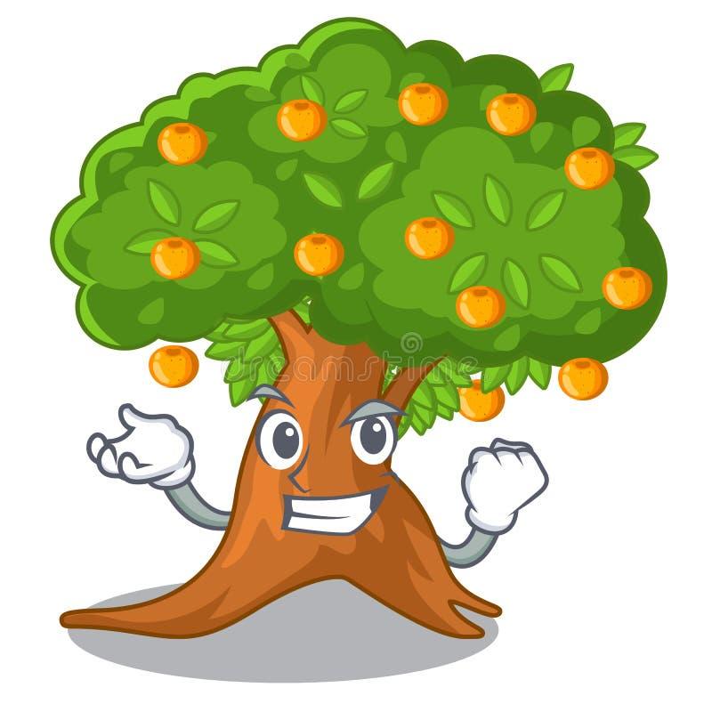在字符形状的成功的橙树 向量例证