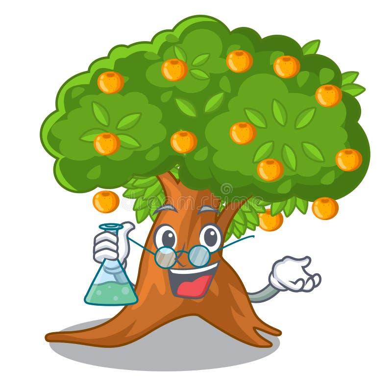 在字符形状的教授橙树 库存例证