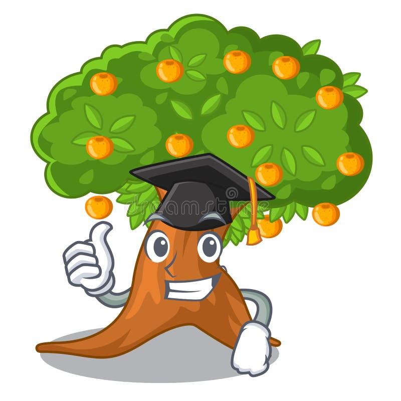 在字符形状的毕业橙树 库存例证