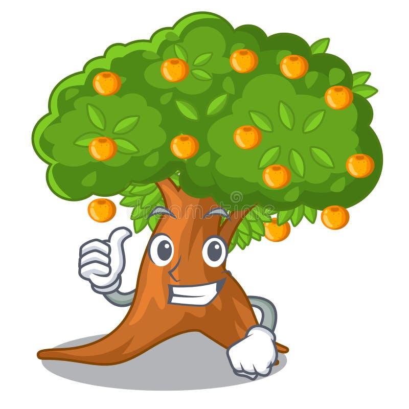 在字符形状的赞许橙树 库存例证