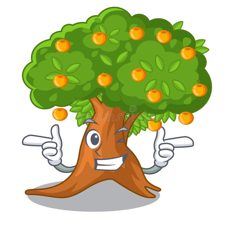 在字符形状的闪光橙树 向量例证