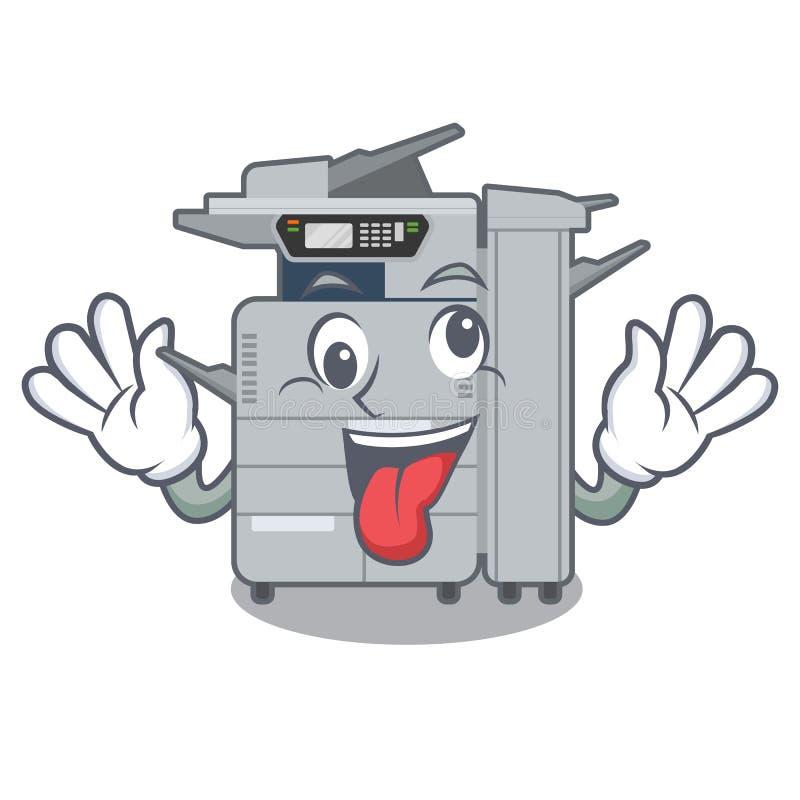 在字符椅子旁边的疯狂的影印机机器 库存例证