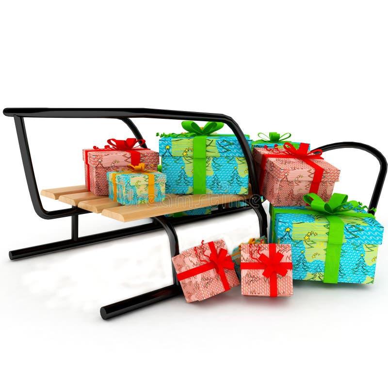 在存在爬犁空白木的圣诞节 免版税库存图片
