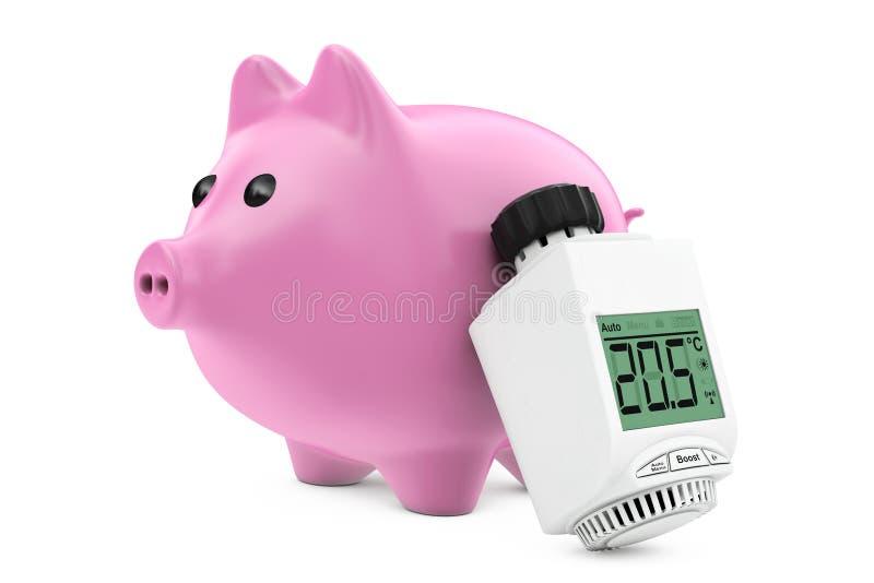 在存钱罐附近的数字式无线幅射器恒温阀 3d 库存例证