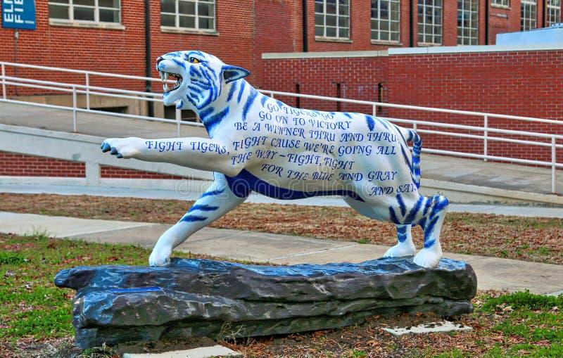 在孟菲斯大学的团队精神手画老虎雕象  免版税库存照片