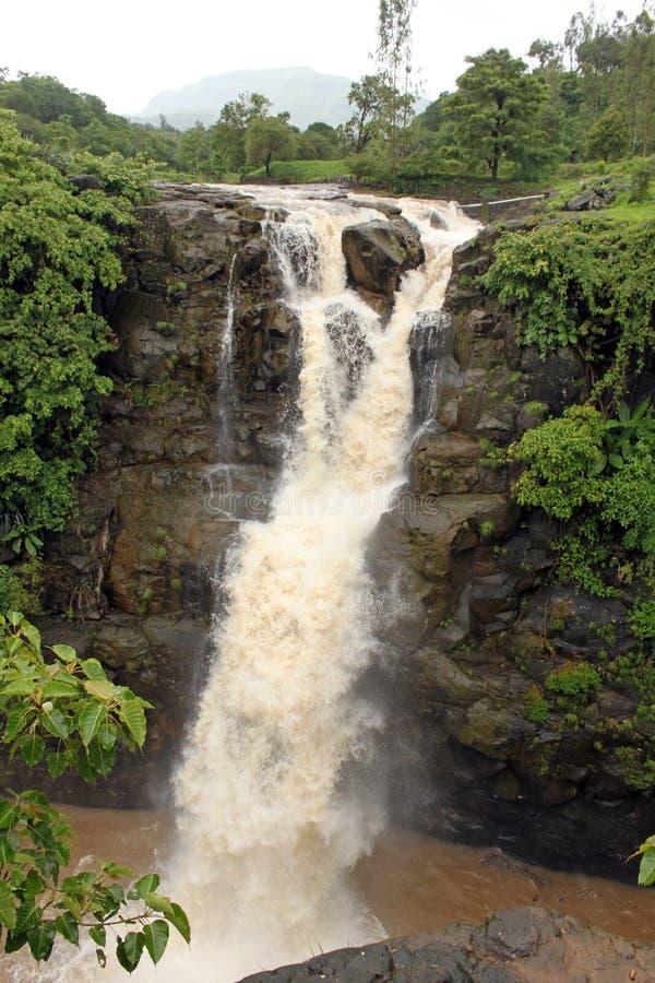 在季风期间,瀑布 库存图片