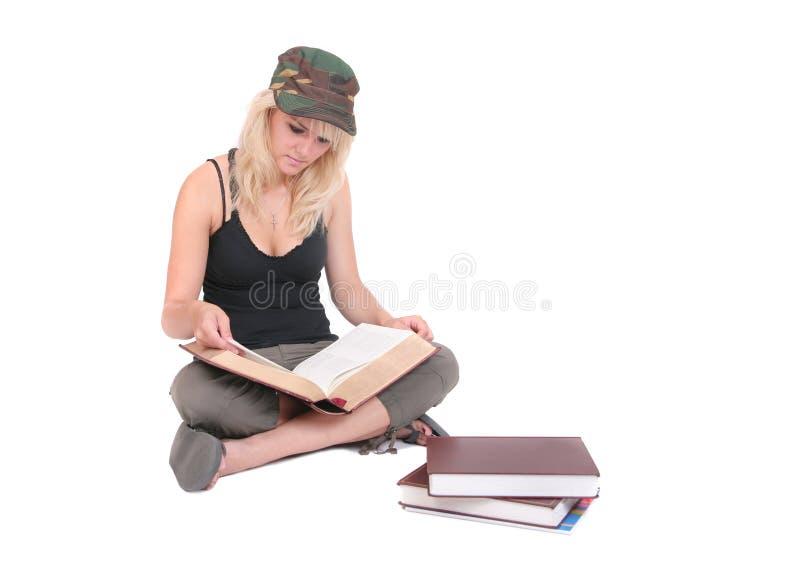 在学习白色的女孩 库存照片