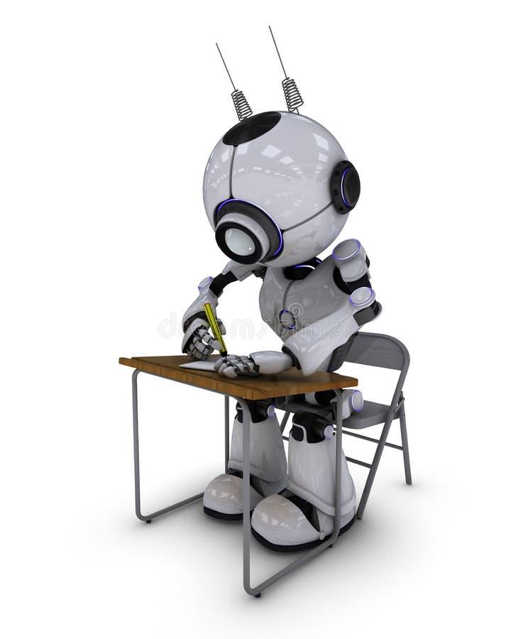 在学校书桌的机器人 皇族释放例证