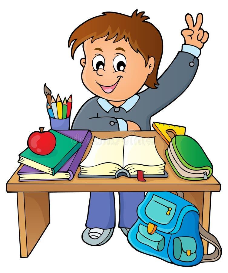 在学校书桌题材图象1后的男孩 库存例证