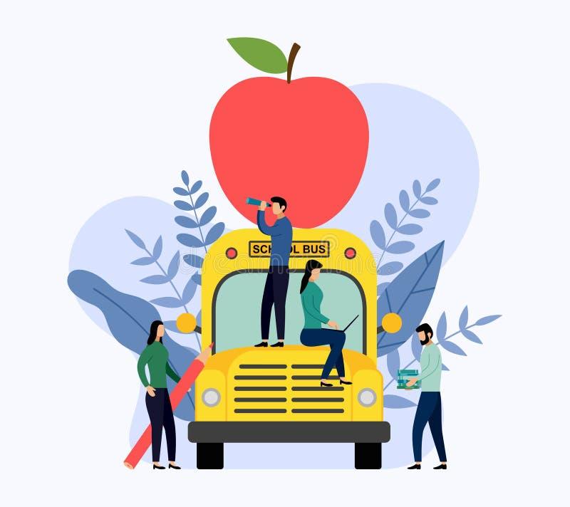 在学校班车的大红色苹果 库存例证