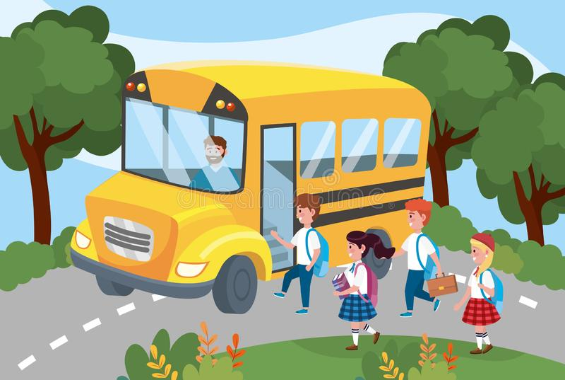 在学校班车里面的司机有女孩和男孩学生的 库存例证