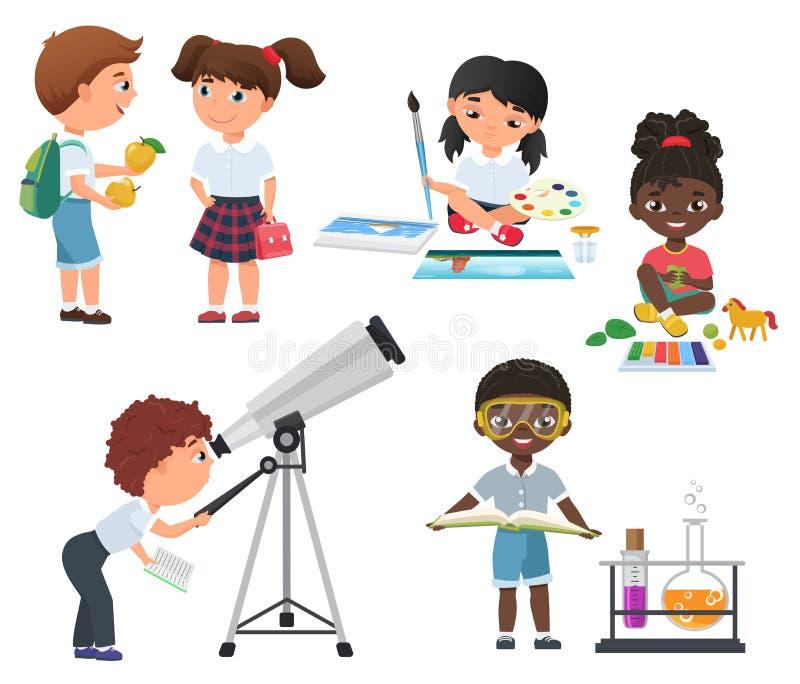 在学校集合的逗人喜爱的传染媒介学生活动 被设置的一点学校孩子 库存例证