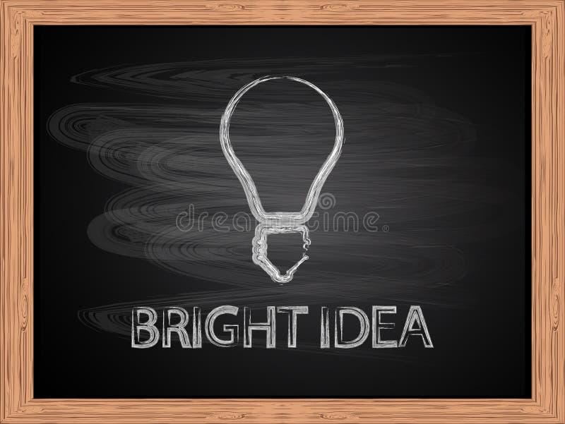 在学校黑板平的设计的白色白垩电灯泡象 库存例证