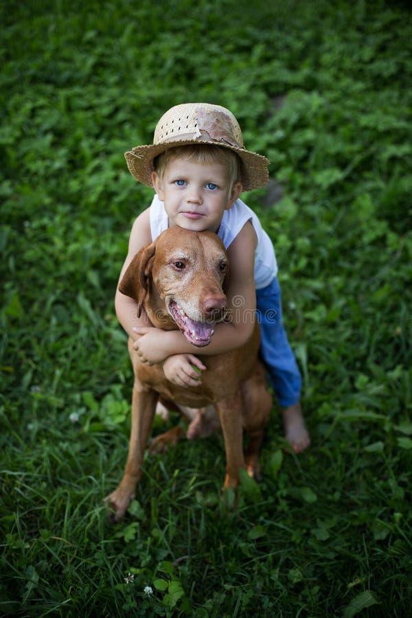 在孩子和狗之间的友谊 库存图片
