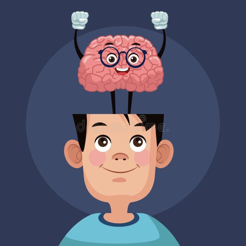 在孩子头的逗人喜爱的脑子动画片 向量例证