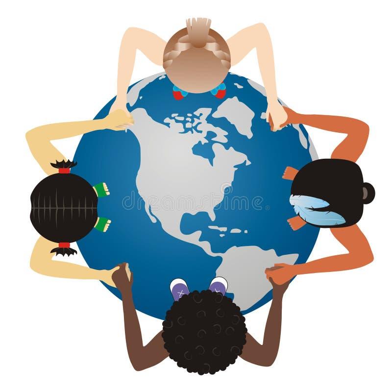 在孩子的世界地球 向量例证