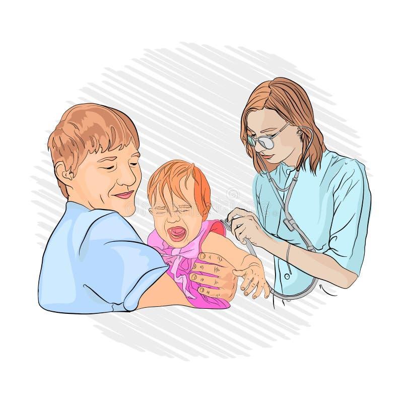 在孩子的肺炎 儿科医生 库存例证