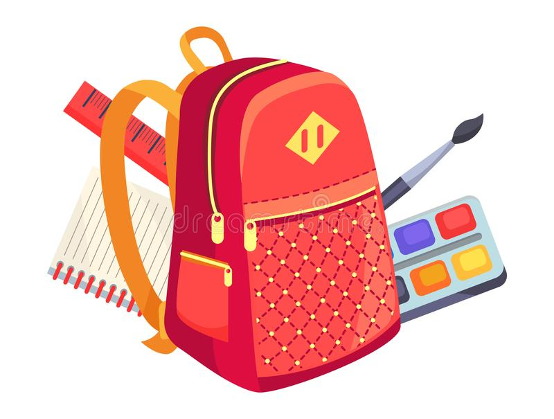 在孩子背包和油漆的侧视图与刷子 向量例证
