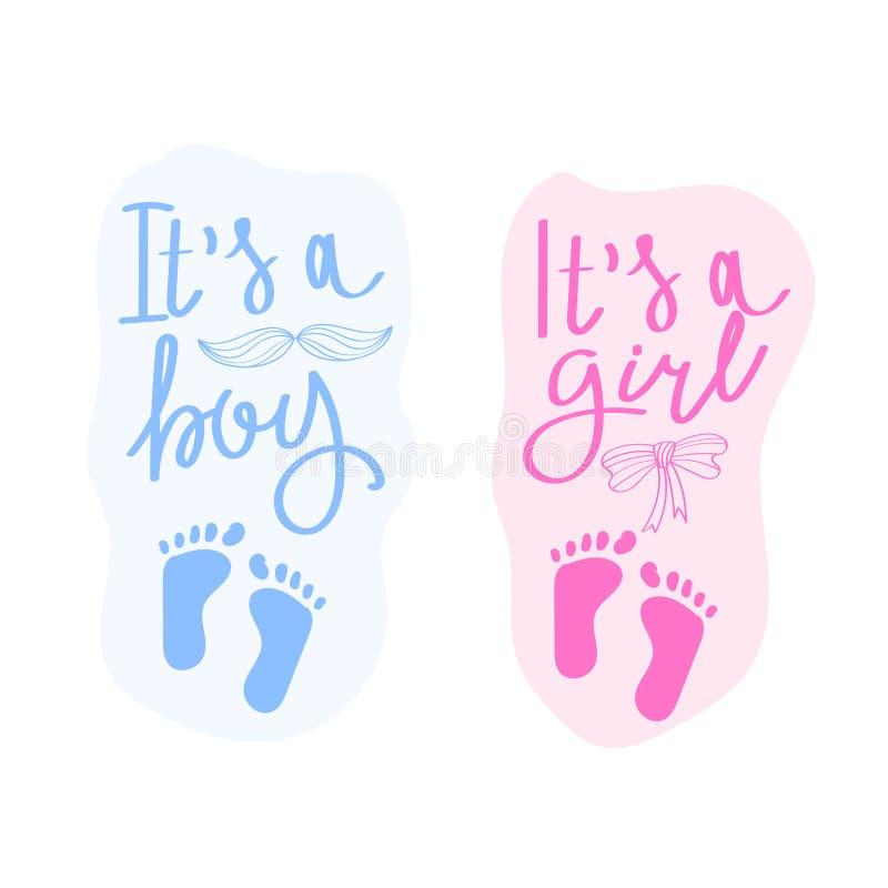 在它上写字是男孩,并且它是女孩 传染媒介婴儿送礼会的贺卡 婴儿送礼会党设计元素 免版税库存照片