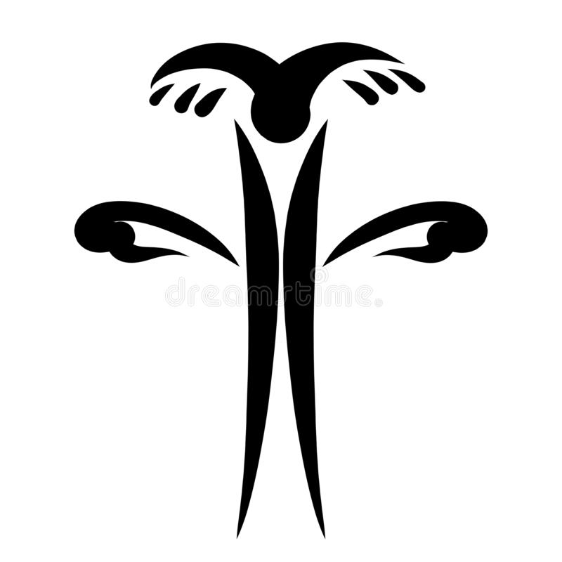 在它上的装饰基督徒十字架和鸟飞行 向量例证