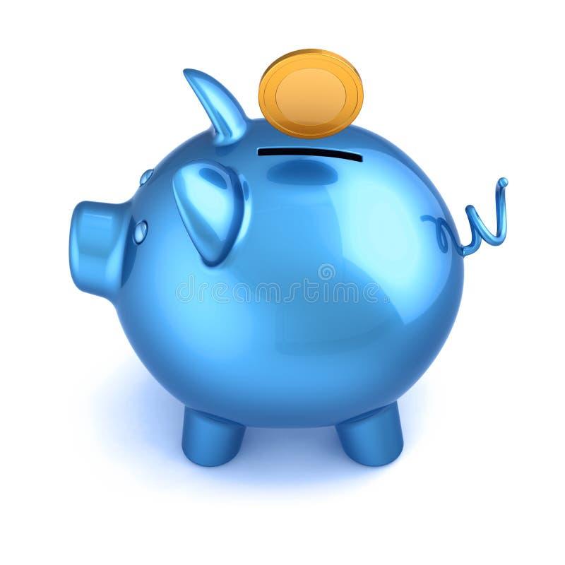 在它的存钱罐蓝色和金黄硬币 库存例证