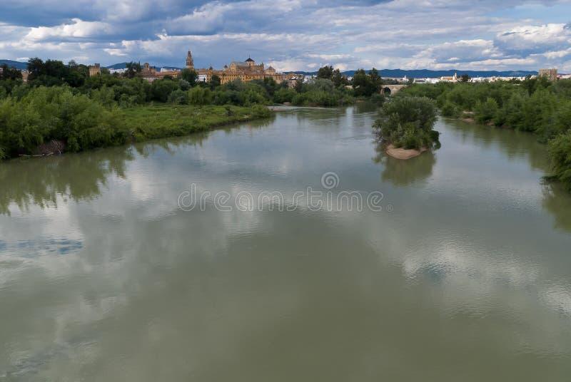 在它的途中的里约瓜达尔基维尔河穿过市有清真大寺大教堂的科多巴在背景中 免版税图库摄影