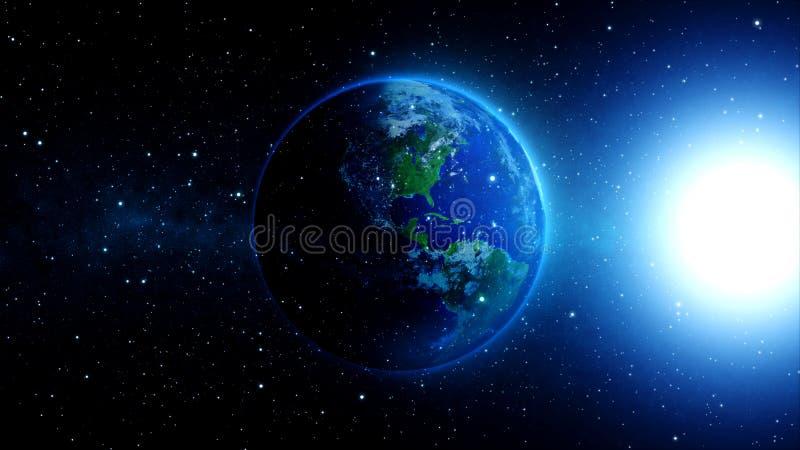 在宇宙或空间的行星地球,地球和星系在星云覆盖 向量例证