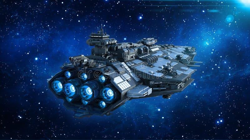 在宇宙的外籍人太空飞船,在外层空间的航天器飞行与星在背景,飞碟背面图, 3D中回报 库存例证