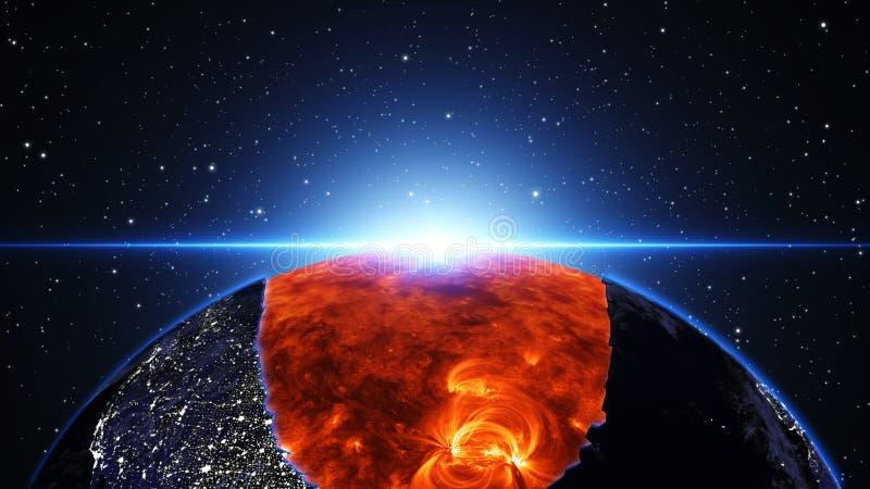 在宇宙的太阳或空间,太阳和星系在星云覆盖 皇族释放例证