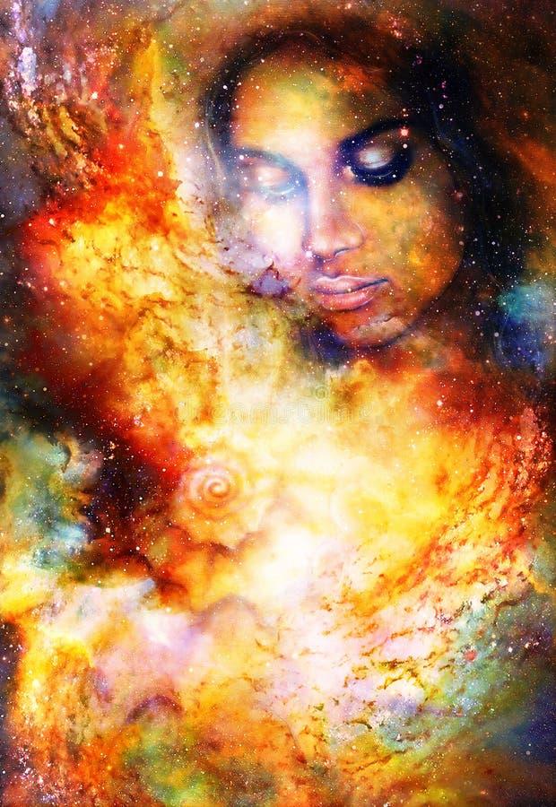 在宇宙空间的神秘的妇女和海壳 库存图片