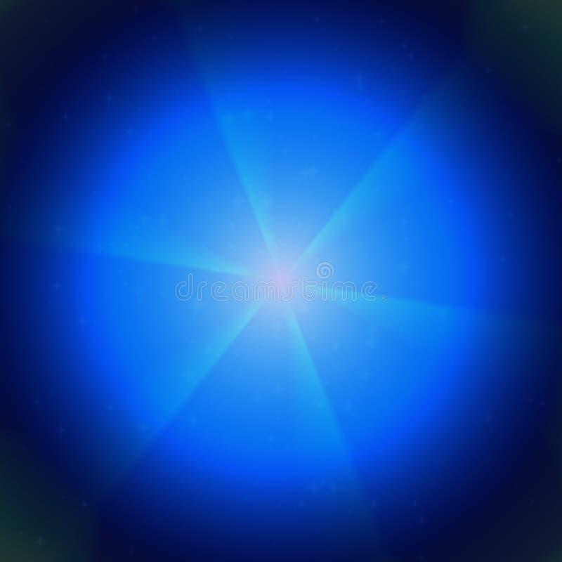 在宇宙纹理的蓝色焕发,浅兰在黑背景,美好的焕发在夜 库存例证
