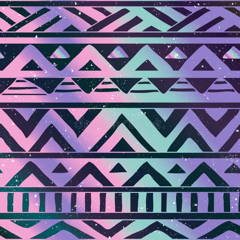 在宇宙背景的阿兹台克部族无缝的样式 库存例证
