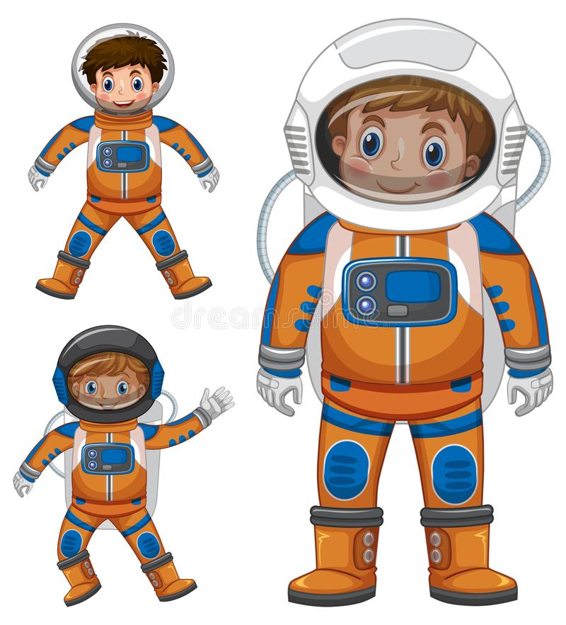 在宇航员成套装备的三个孩子 皇族释放例证