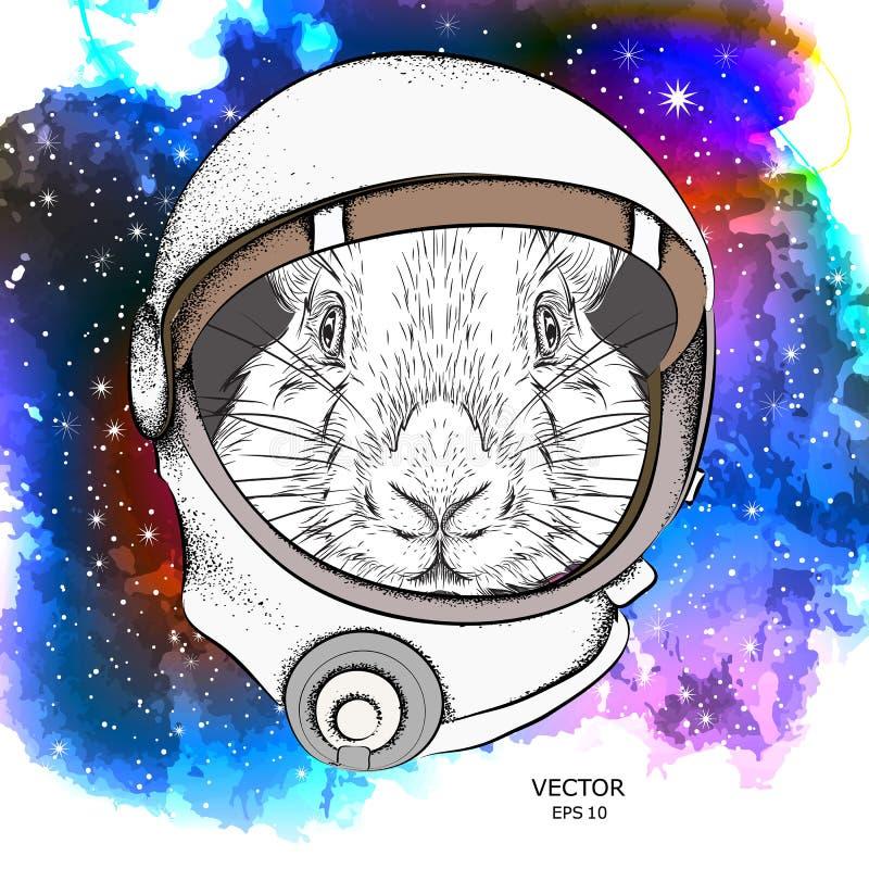 在宇航员` s航天服的一只动画片兔子 在空间的字符 也corel凹道例证向量 库存例证