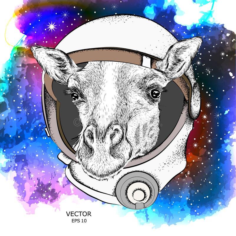 在宇航员` s航天服的一头动画片长颈鹿 在空间的字符 也corel凹道例证向量 皇族释放例证