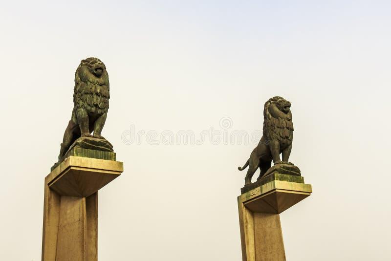 在守卫狮子的桥梁柱子的石狮子雕象 免版税库存图片