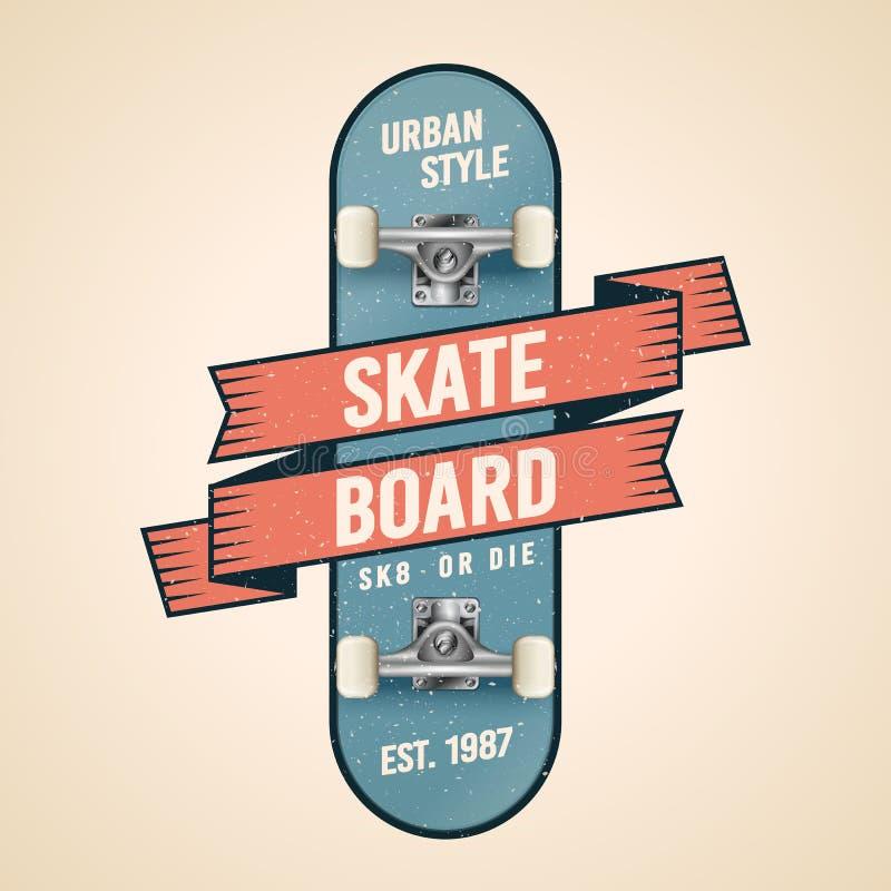 在守旧派样式的传染媒介例证经典踩滑板的商标 与丝带、横幅、旗子和难看的东西作用的滑板 库存例证