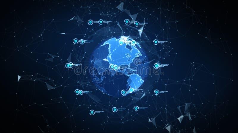 在安全全球网络、技术网络和网络安全概念的盾象 全世界连接的保护 ?? 皇族释放例证