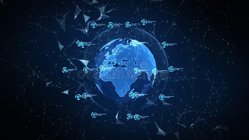 在安全全球网络、技术网络和网络安全概念的盾象 全世界连接的保护 ?? 向量例证