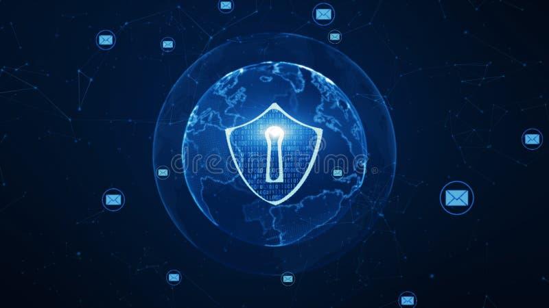 在安全全球网络,网络安全概念的盾和电子邮件象 美国航空航天局装备的地球元素 库存例证