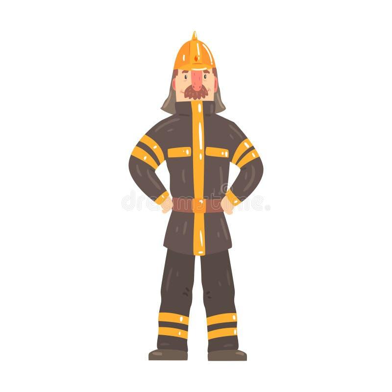 在安全帽的消防队员字符和防护套服常设动画片导航例证 皇族释放例证